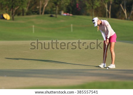 PATTAYA, THAILAND - February 27, 2016: Jessica Korda of US plays the shot of the 2016 LPGA Thailand at Siam Country Club in Chonburi.