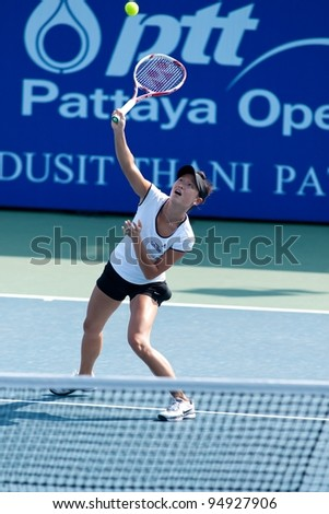 PATTAYA THAILAND - FEBRUARY 8: Kai-Chen Chang of Taiwan prepares to return a ball to her opponent during Round 2 of PTT Pattaya Open 2012 on February 8, 2012 at Dusit Thani Hotel in Pattaya, Thailand