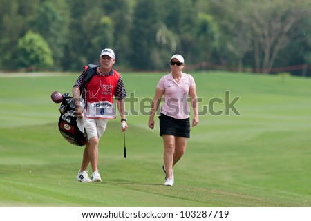 PATTAYA, THAILAND-FEBRUARY 16: Kristy McPherson of USA walks towards hole 18 during Round 1 of Honda LPGA 2012 on February 16, 2012 at Siam Country Club Old Course in Pattaya, Thailand