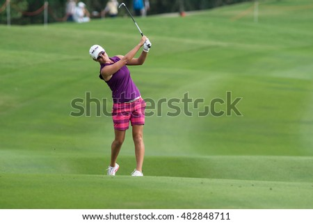 PATTAYA, THAILAND-FEBRUARY 20: Lee-Anne Pace of South Africa in action during Round 3 of Honda LPGA Thailand 2015 on February 20, 2015 at Siam Country Club Old Course in Pattaya, Thailand