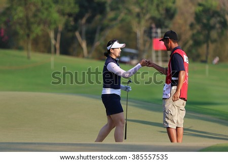 PATTAYA, THAILAND - February 27, 2016: Q Baek of Japan plays the shot of the 2016 LPGA Thailand at Siam Country Club in Chonburi.