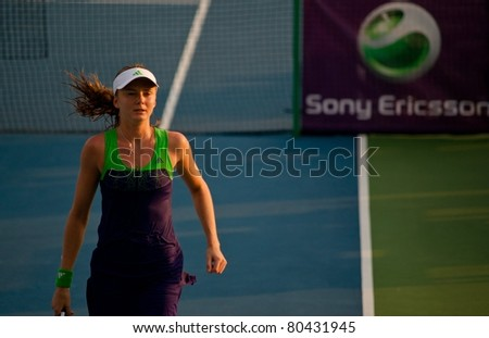 PATTAYA THAILAND - FEBRUARY 10: Slovakian tennis player Daniela Hantuchova in action during round 2 of PTT Pattaya Open on February 10 2011 at Dusit Thani Hotel in Pattaya, Thailand - stock photo