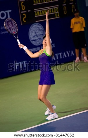 PATTAYA THAILAND - FEBRUARY 11: Slovakian tennis player Daniela Hantuchova in action during the round 3 of PTT Pattaya Open on February 11, 2011 at Dusit Thani Hotel in Pattaya, Thailand - stock photo