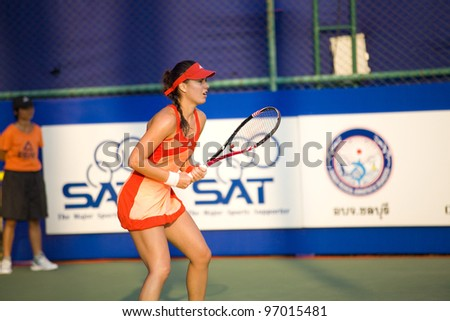 PATTAYA THAILAND - FEBRUARY 8: Sorana Cirstea of Romania returns the ball to her opponent during Round 2 of PTT Pattaya Open 2012 on February 8, 2012 at Dusit Thani Hotel in Pattaya, Thailand