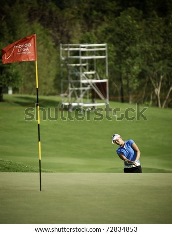 PATTAYA, THAILAND - FEBRUARY 18: South African player Lee-Anne Pace in action during day two of Honda LPGA Thailand 2011 on February 18 2011 at Siam Country Club Old Course in Pattaya, Thailand