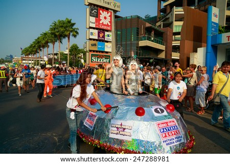Pattaya, Thailand - January 25, 2015: The great annual fun event of Pattaya City. The 7th Pattaya International Charity Bed Race 2015. Organized by Pattaya City Hall. Almost 70,000 tourist attendants.