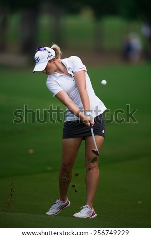PATTAYA, THAILAND: Jodi Ewart Shadoff of England   plays an approach on the 1st hole during day one of the Honda LPGA Thailand 2015 at Siam Country Club, Pattaya on Feb 26,2015 in Thailand. - stock photo