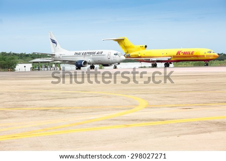 PATTAYA,THAILAND - JULY 17, 2015: Airplane of Airliners are parking in  U-Tapaoâ??Rayongâ??Pattaya International Airport.