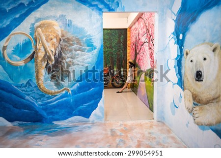 PATTAYA, THAILAND - JULY 18: painting 3D art gallery is shown on Mimosa on July 18, 2015 in Pattaya.  - stock photo