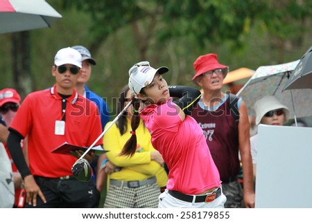 PATTAYA, THAILAND-MAR 1: Paphangkorn Tavatanakit of Thailand plays a shot on the 2 st hole during day 4 of the Honda LPGA Thailand 2015 at Siam Country Club, Pattaya on March 1,2015 in Thailand.