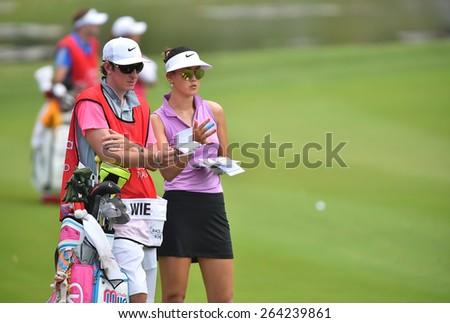 PATTAYA, THAILAND: Michelle Wie of USA in action during day one of the Honda LPGA Thailand 2015 at Siam Country Club, Pattaya on Feb 26,2015 in Thailand. - stock photo