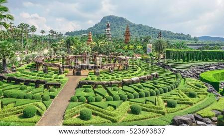 pattayathailand november 262016 the large stone garden and tropical garden - Tropical Garden 2016