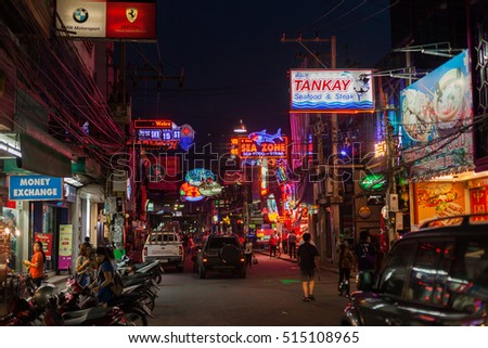 PATTAYA, THAILAND - 13 Oct 2016: The famous Walking Street nightlife / red light district on October 13, 2016 in Pattaya, Thailand.