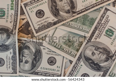 pattern background from one hundred dollar bills - stock photo