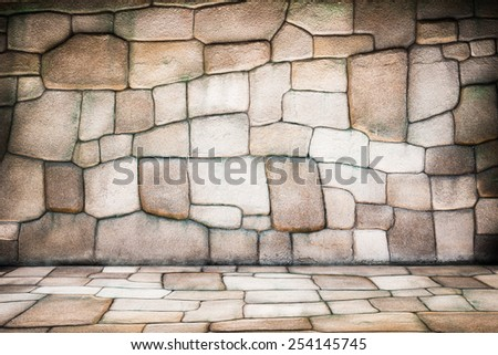 pattern brown color of modern style design real stone wall surface with cement - stock photo