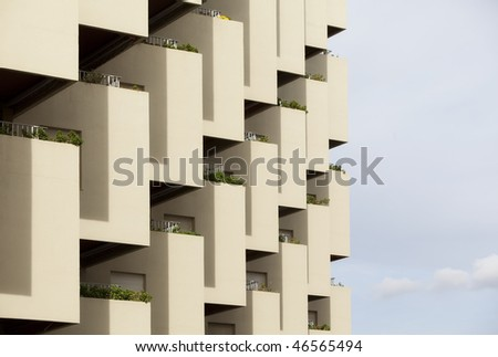 Pattern composed by residential balconies. - stock photo