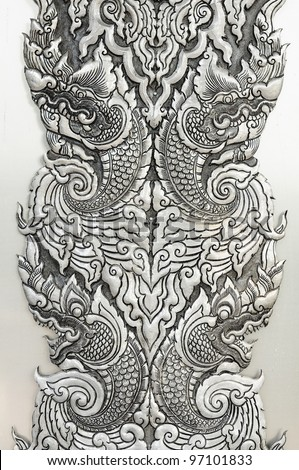Pattern Decorative Art of Lanna Thai. Engraving of the silver value. - stock photo