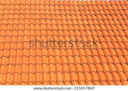 pattern detail of orange ceramic roof tiles