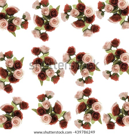 pattern Flower, rose flower print in soft colors made from fabric,beautiful bright bouquet of roses on a white background - stock photo