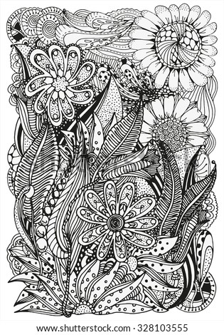 Pattern for coloring book. A4 size.  Ethnic, floral, retro, doodle, tribal design element. Black and white  background. zentangle