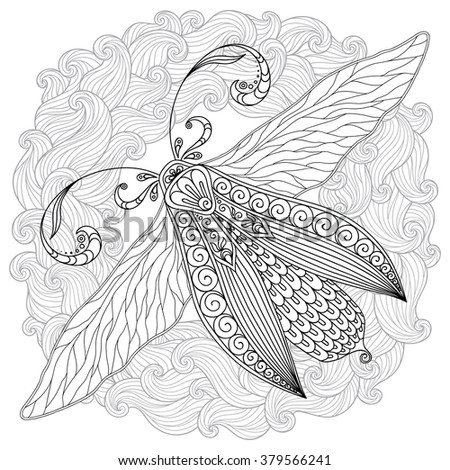 Pattern for coloring book. Henna Mehendi Tattoo Style Doodles butterfly. Design element.  Hand Drawn raster  illustration isolated on white background.Coloring book pages for kids and adults. - stock photo