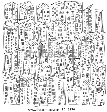 Pattern For Coloring Book With Artistically City Houses Magic Street Background Made