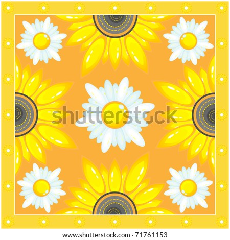 Pattern from sunflowers and chamomile.