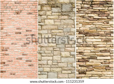 pattern gray color of modern style  design decorative  cracked real stone wall surface sample  with cement - stock photo