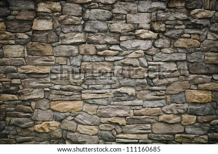 pattern gray color of modern style  design decorative  uneven  cracked real stone wall surface with cement - stock photo