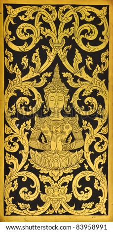 pattern in traditional Thai style art painting on window of the temple - stock photo