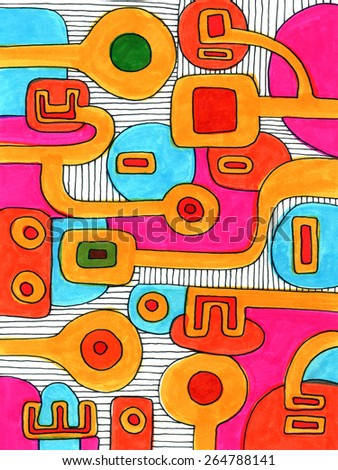 Pattern kid drawing like abstract shapes geometrical black lines colorful happy decorative simple