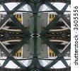 pattern made from fisheye image of train through railings - stock photo