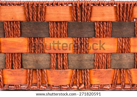 pattern nature background of brown handicraft weave texture surface on wicker basket - stock photo