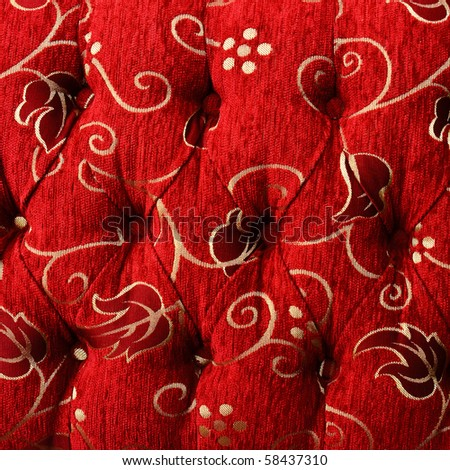 Pattern of a furniture upholstery tapestry texture.Dark red color with white graphical floral ornament. - stock photo