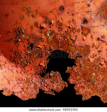 Pattern of a rough surface of rusty metal  with jagged edges on black background - stock photo