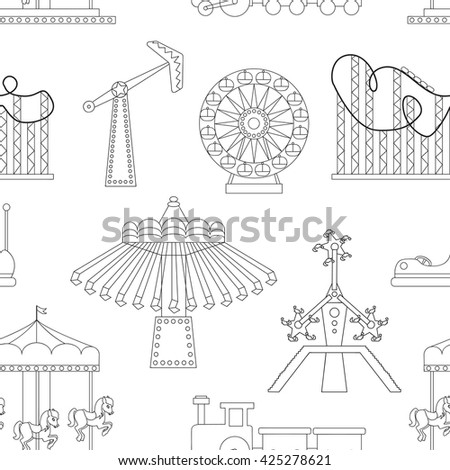 Pattern of Amusement park or funfair attraction icons.  - stock photo