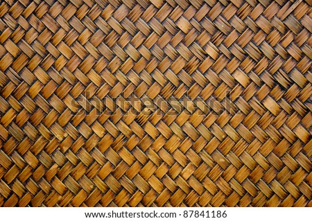 Pattern of bamboo weave of serving tray - stock photo