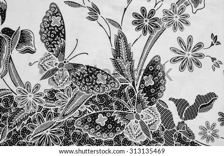 ... of beautiful Asean traditional batik in black and white. - stock photo