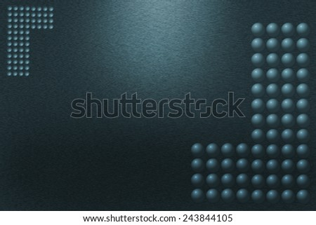 Pattern of brushed green metal background. Subdued light is in the upper middle part of the background. Three-dimensional spheres forming the letter L are in the corners of the image. - stock photo