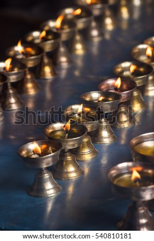 Pattern of candles in a Buddhist temple of China in Row