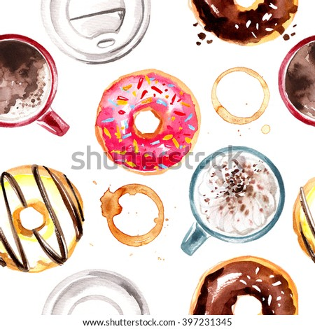 Pattern of candy-painted watercolor. Donuts, macaroon, coffee. seamless pattern food - stock photo