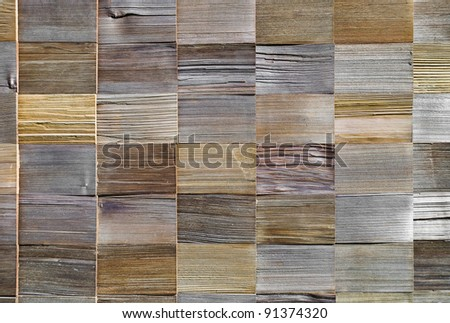 pattern of cedar wood decoration on wall - stock photo