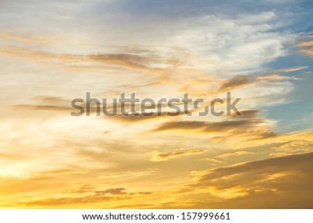 Pattern of cloud and golden sky in twilight time - stock photo