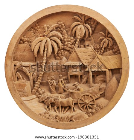 Pattern of culture carved on wood - stock photo
