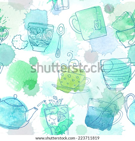 Pattern of cups of tea and coffee. Abstract stains on a white background. Ornament of the dishes. - stock photo