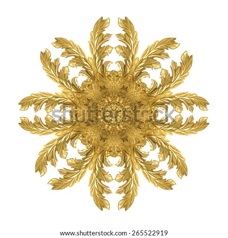 Pattern of decorative metal gold paint carve on white background - stock photo