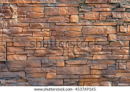 pattern of decorative multicolored slate stone wall surface, background, texture - stock photo