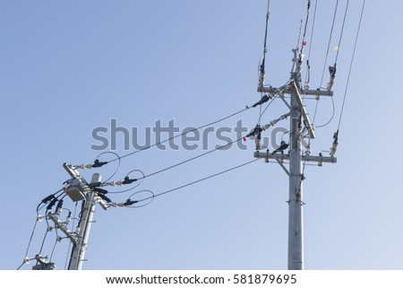 pattern of electric post power pole in countryside