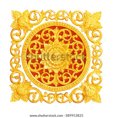 Pattern of flower carved  for decoration isolated on white background
