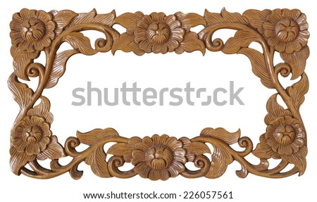Pattern of flower carved frame isolated on white background - stock photo